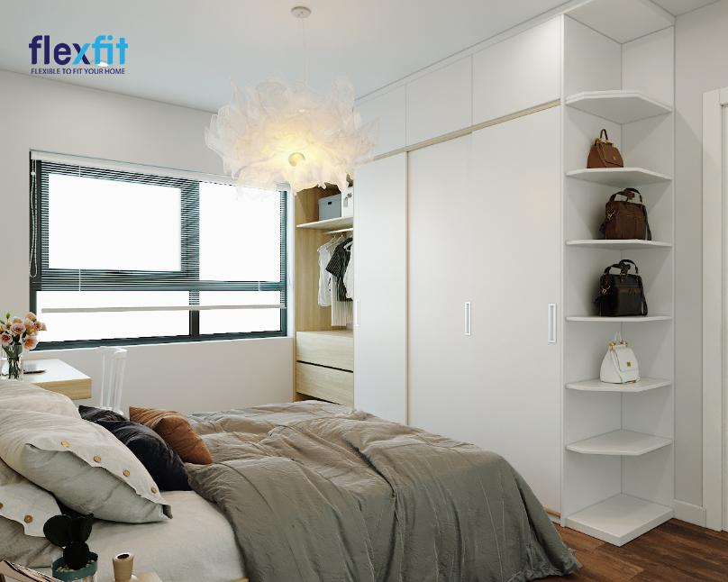 Chiếc tủ quần áo gỗ MDF phủ Melamine 2m8 màu trắng