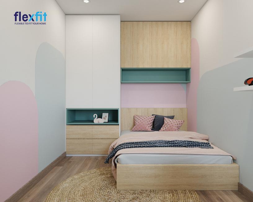 Ngọt ngào, tươi trẻ, mới mẻ và tạo cảm giác dễ chịu với tủ quần áo 3m lõi MDF phủ Melamine phối màu trắng - xanh ghi - nâu vân gỗ sáng kết hợp cùng tông màu trắng - hồng pastel - xám nhạt của phòng ngủ