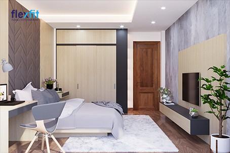 Nếu thiết kế căn phòng ngủ lấy cảm hứng từ thiên nhiên thì mẫu tủ phối màu đen - vân gỗ sáng chính là một sự lựa chọn đáng cân nhắc