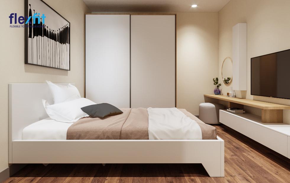 Vừa giúp tiết kiệm diện tích vừa tạo cảm giác sáng, thoáng cho không gian phòng ngủ với tủ quần áo MDF phủ Melamine 2m6 màu trắng thiết kế cánh lùa tiện lợi