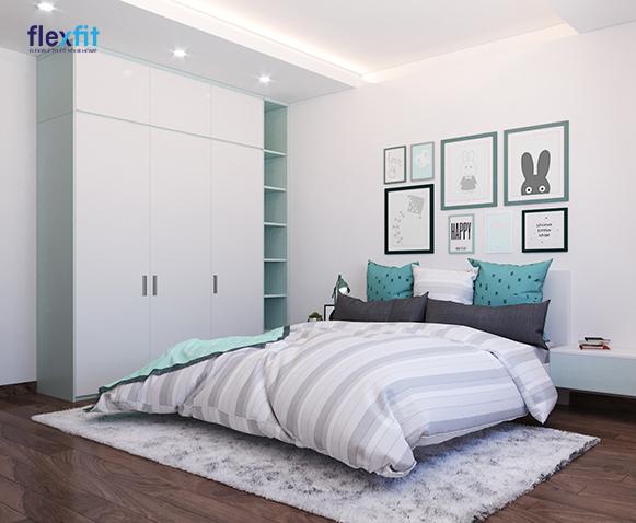 Tủ quần áo 2m8 lõi MDF phủ Laminate màu trắng - xanh ghi pastel kết hợp với màu sơn tường, chăn gối… mang đến vẻ đẹp trong trẻo, nhẹ nhàng và cảm giác thư giãn cho phòng ngủ