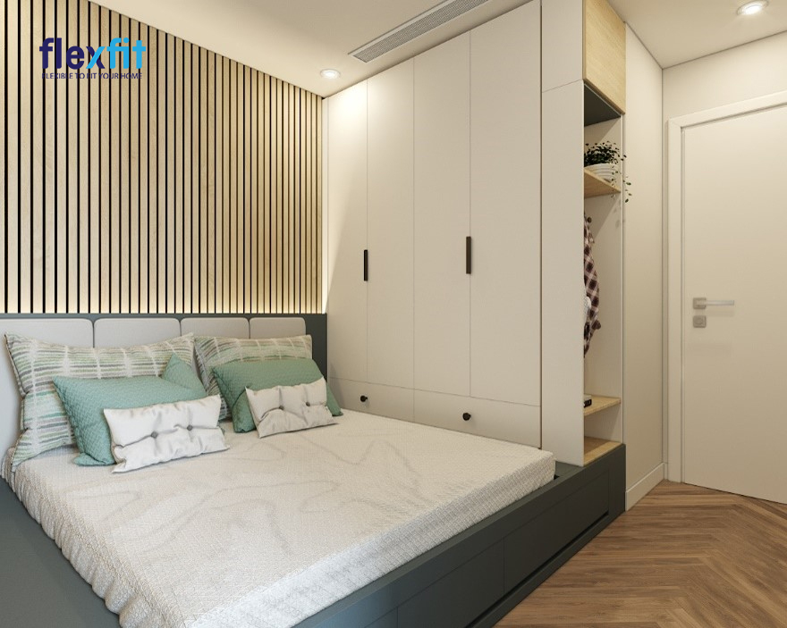 Tủ quần áo 2m lõi MDF phủ Melamine màu trắng - nâu vân gỗ tích hợp thêm kệ trang trí về bên phải và tạo nên sự kết nối liền mạch với phòng ngủ đầy sáng tạo