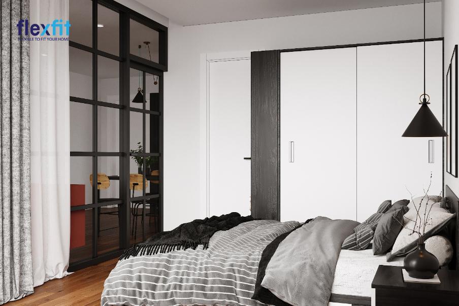 Đẹp tối giản, sang trọng với tủ quần áo 2m lõi MDF phủ Melamine phối màu trắng đen hài hòa với tổng thể màu sắc phòng ngủ