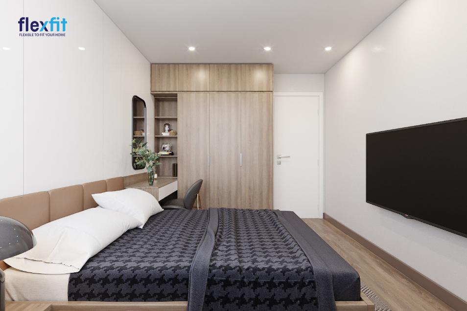 Tủ quần áo kịch trần 2m8 lõi MDF phủ Laminate màu nâu gỗ tích hợp kệ trang trí, bàn học tạo thành một khối đa năng, tiện dụng, có tính thẩm mỹ cao cho phòng ngủ
