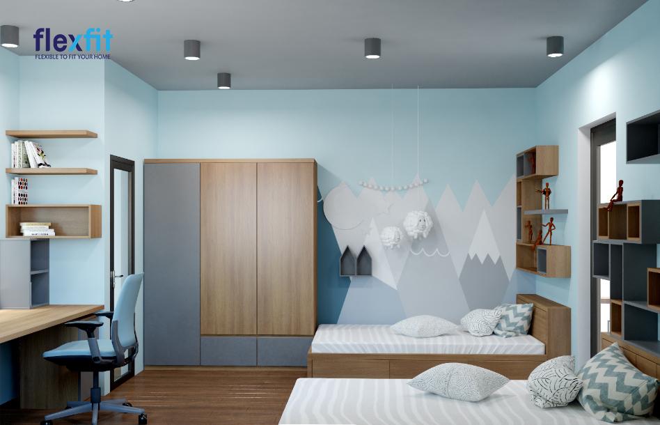 Tủ quần áo 2m lõi MDF phủ Melamine thiết kế nhỏ gọn, tiện lợi, phối màu xám - mâu vân gỗ hài hòa với tổng thể chung và mang đến cảm giác dễ chịu cho chủ nhân căn phòng