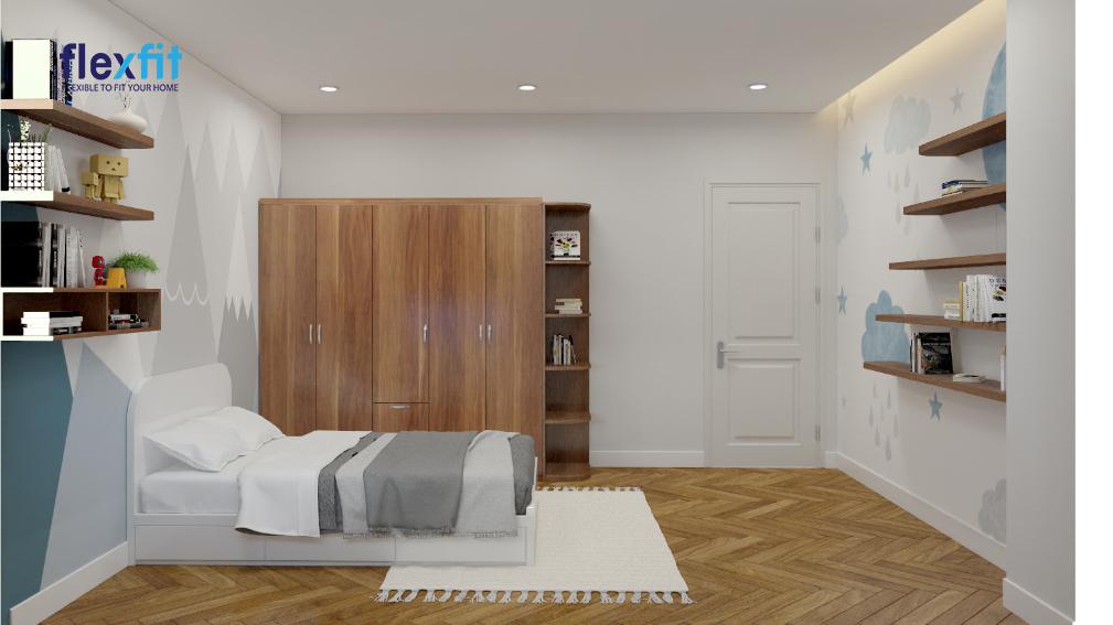 Với chất liệu MDF phủ Laminate màu nâu vân gỗ, tủ quần áo 2m tích hợp kệ trang trí vừa có khả năng kháng ẩm, bảo vệ quần áo tốt vừa đem đến trải nghiệm từ thiên nhiên đến cho chủ nhân căn phòng ngủ