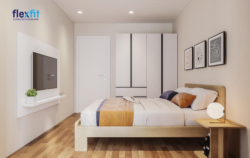 Mang đến chút mới mẻ cho chiếc tủ quần áo lõi MDF phủ Melamine tông màu trắng sáng với những đường kẻ ngang, dọc linh hoạt, nổi bật