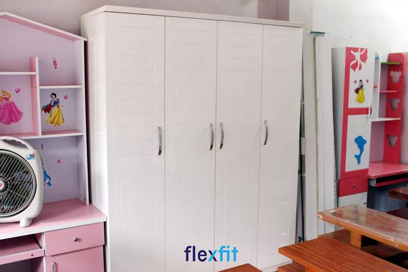 Mẫu tủ quần áo MDF 1m4 cho phòng ngủ nhỏ