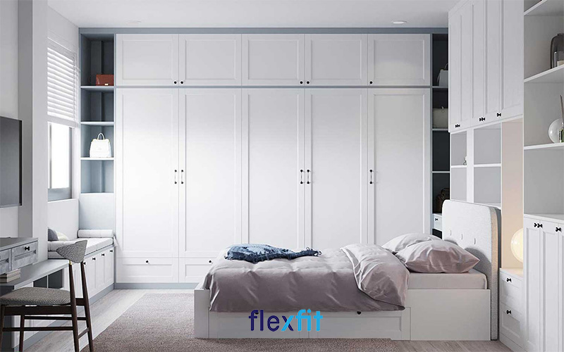 Mẫu tủ quần áo gỗ MDF sơn trắng đơn giản nhưng vẫn đầy nổi bật