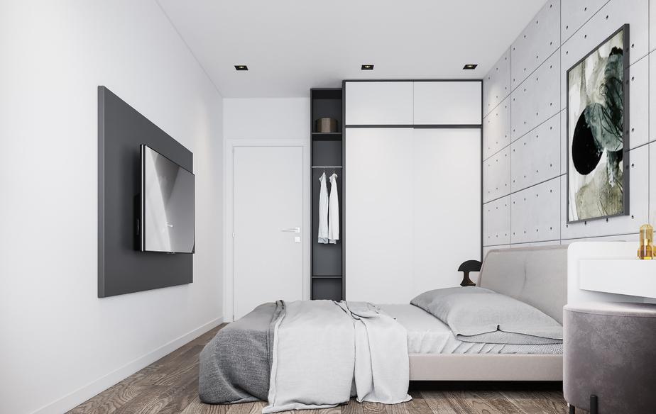 Mẫu phòng ngủ hợp với người mệnh Kim sử dụng gam màu sơn tường, nội thất là màu trắng làm chủ đạo