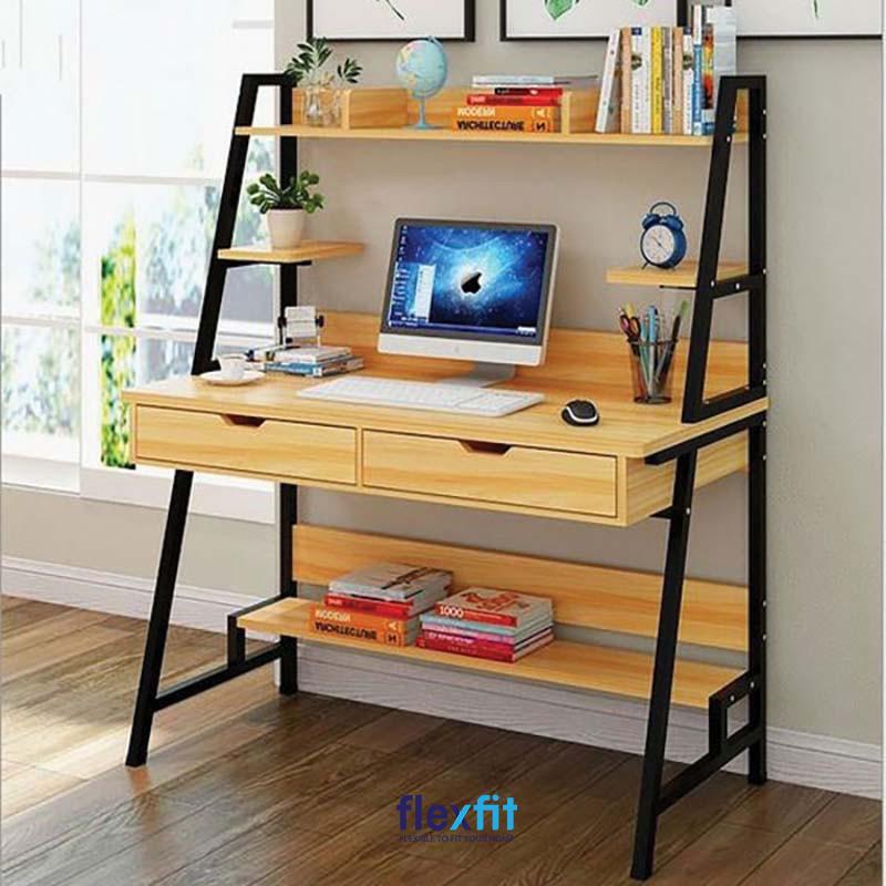 Bạn mong muốn có được một không gian làm việc khơi hứng thú, sáng tạo nên cân nhắc lựa chọn mẫu bàn làm việc này. Bàn được tạo nên bởi khung sắt đen và các thanh gỗ sáng màu chắc chắn. Phía trên và dưới bàn đều có không gian để sách, đồ trang trí tiện dụng.