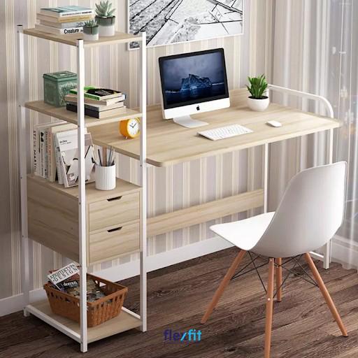 Bàn làm việc gỗ ép MDF liền kệ trang trí thiết kế mới mẻ với tông màu vân gỗ kết hợp khung màu trắng hài hòa. Kệ trang trí gồm các ngăn để và ô tủ kéo cho bạn lưu trữ đồ dùng theo các mục đích khác nhau.