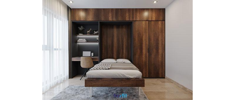 Mẫu bàn nổi bật với tông màu vân gỗ sang trọng, kích thước nhỏ nhắn tiết kiệm không gian phòng ngủ và thiết kế hiện đại kết hợp với tủ trang trí tạo nên không gian đẹp cho khu bàn làm việc.