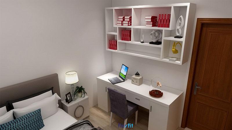 Bàn làm việc được thiết kế 2 ngăn kéo nhỏ cùng 2 ngăn chứa mang lại sự tiện lợi cho người sử dụng. Ngoài ra, bạn có thể kết hợp thêm kệ sách kèm trang trí để tăng khả năng lưu trữ cũng như tính thẩm mỹ cho không gian.