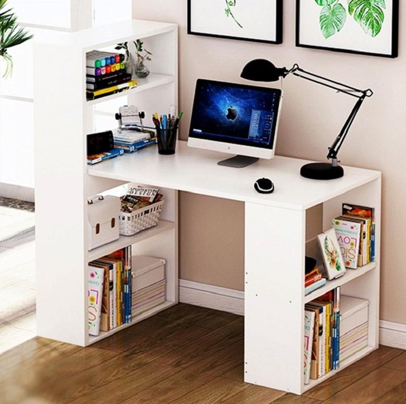 Mẫu bàn làm việc máy tính kết hợp kệ sách thông minh, ấn tượng, tạo ra không gian lưu trữ tối đa với các ngăn kệ ở hai bên.