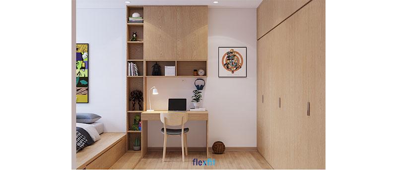 Mẫu bàn này có kích thước 60cm x 90cm màu vân gỗ sáng đồng nhất với màu nội thất chung của căn phòng. Bàn kết hợp với tủ kệ trang trí nhỏ gọn nhưng chia thành nhiều ô giúp bạn lưu trữ được nhiều đồ một cách khoa học, ngăn nắp.