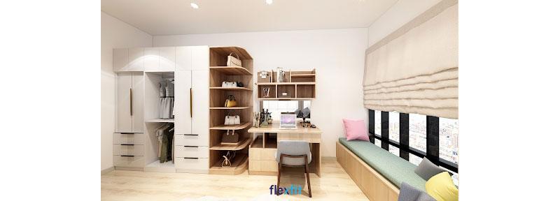 Bàn được thiết kế với kích thước 60cm x 90cm nhỏ gọn tích hợp ngăn tủ để đồ tiện lợi. Tông màu vân gỗ đặc trưng đồng điệu với các nội thất khác trong phòng.