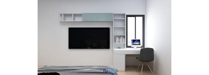 Bàn làm việc máy tính với kích thước nhỏ gọn được kết hợp với tủ kệ trang trí hiện đại, tiết kiệm không gian. Phía chân bàn được bố trí thêm một tủ chứa cùng khoảng rộng giúp bạn dễ dàng để cây máy tính và đặt chân thoải mái.