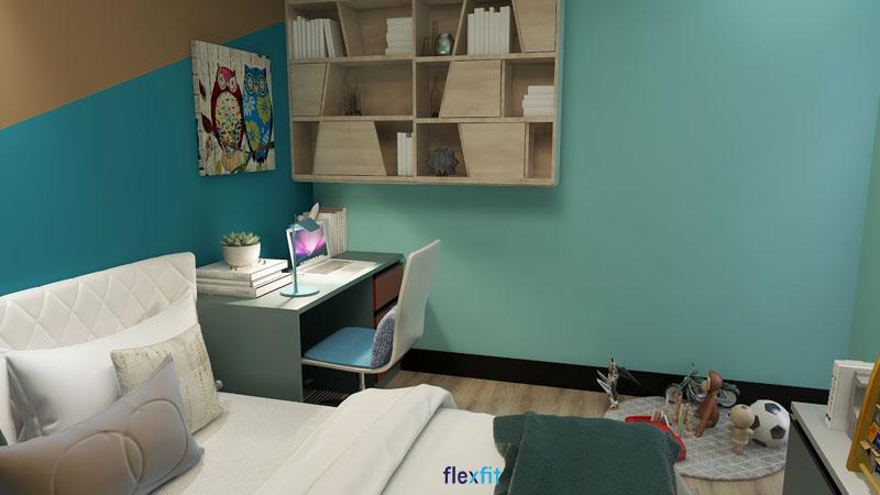 Bàn làm việc máy tính mang đến không gian tươi mới, tràn đầy sức sống nhờ sở hữu màu xanh dương matte mới lạ. Các ngăn chứa và kệ trang trí màu vân gỗ được tích hợp với bàn làm việc đem lại sự tiện nghi và gia tăng tính thẩm mỹ cho không gian.