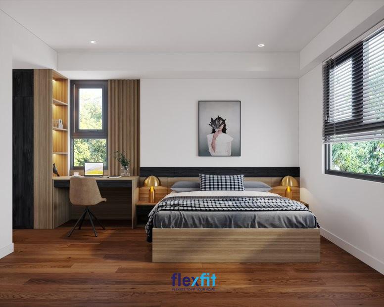 Mẫu bàn làm việc này được tích hợp với tủ kệ trang trí đều có màu vân gỗ tạo thành một khối thống nhất và mang lại sự tiện nghi cho căn phòng. Ngoài ra, các đồ nội thất khác cũng phủ lớp vân gỗ tạo nên không gian ấm cúng, sang trọng.