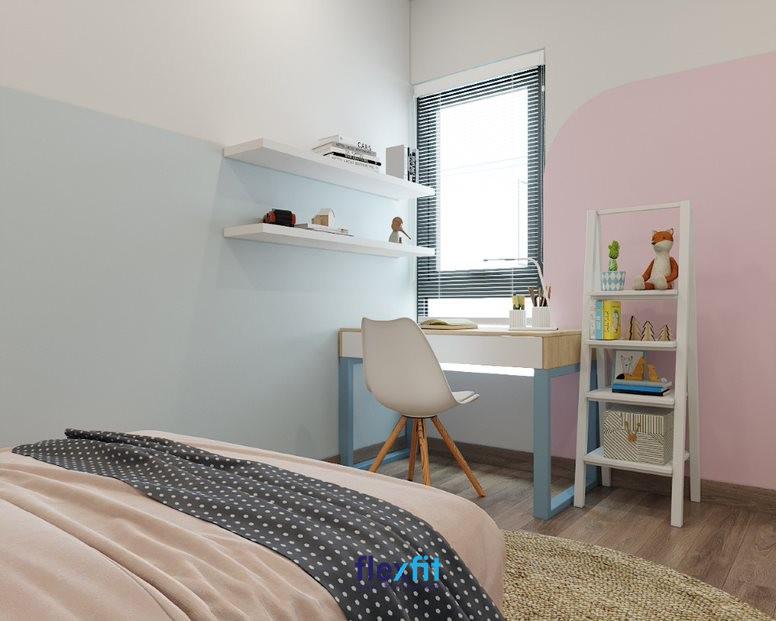 Mẫu bàn có thiết kế đặc biệt với chân bàn inox sơn màu xanh dương, ngăn kéo màu trắng tạo điểm nhấn. Bàn gọn nhẹ với kích thước 90cm x 120cm, được làm từ chất liệu MFC phủ Melamine phù hợp với phong cách trẻ trung và hiện đại.
