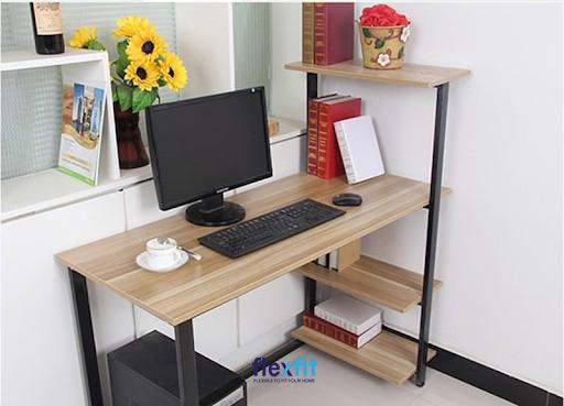 Bàn làm việc vân gỗ liền kệ sách tiện ích thiết kế đơn giản nhưng vẫn đảm bảo công năng sử dụng.
