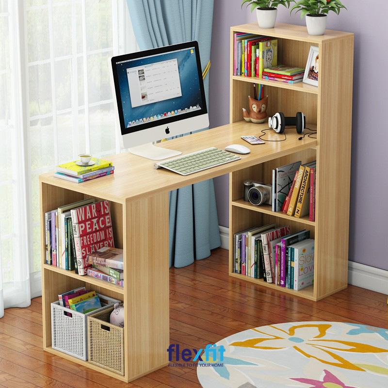 Bàn làm việc liền kệ để sách vừa làm chân bàn giúp không gian làm việc gọn gàng, ngăn nắp. Bên cạnh đó, thiết kế thông minh này còn tạo ra không gian lưu trữ sách vở, đồ đạc khá lớn, rất thuận tiện cho người sử dụng