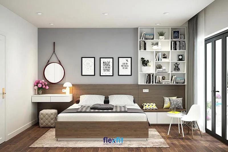 Giường ngủ thiết kế hiện đại tích hợp hệ đầu giường vừa làm kệ trang trí, vừa là bàn trang điểm tiện dụng