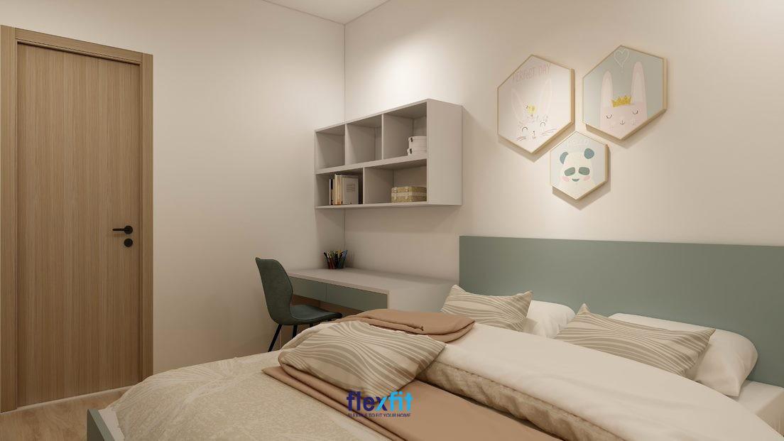 Mẫu bàn làm việc tối giản nhỏ gọn với kích thước 90cm x 120cm, được thiết kế ngăn kéo cùng giá sách/ trang trí treo tường mang lại sự tiện nghi. Bàn sử dụng tông trắng - xanh matte kết hợp tạo không gian làm việc dễ chịu, trang nhã.