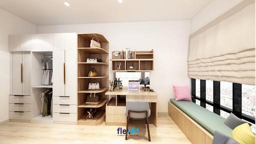 Bàn làm việc tích hợp tủ kệ trang trí kích thước lớn giúp bạn có thể thoải mái đựng đồ và trang trí theo sở thích. Màu vân gỗ - trắng của bàn hài hòa với không gian chung và các nội thất xung quanh tạo vẻ đẹp đồng bộ và hiện đại.