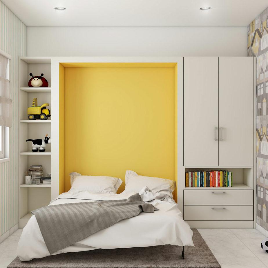 Mẫu giường gấp âm tường bắt mắt, tươi tắn với gam màu vàng tươi rất thích hợp với các bạn trẻ năng động. Hai bên giường là tủ lưu trữ đồ có thiết kế ngăn kéo và kệ trang trí mang lại sự tiện lợi cho người sử dụng.