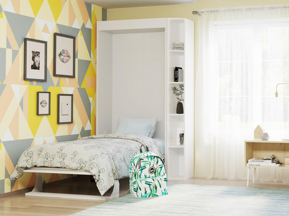 """Đơn giản, """"nhỏ nhưng có võ"""" là những gì mẫu giường âm tường này đem lại. Giường có tích hợp kệ trang trí cho bạn đặt để những món đồ mình thích. Tông màu trắng của giường kết hợp mảng tường ấn tượng, cá tính nhiều màu sắc giúp căn phòng trở nên ấn tượng, không hề đơn điệu."""