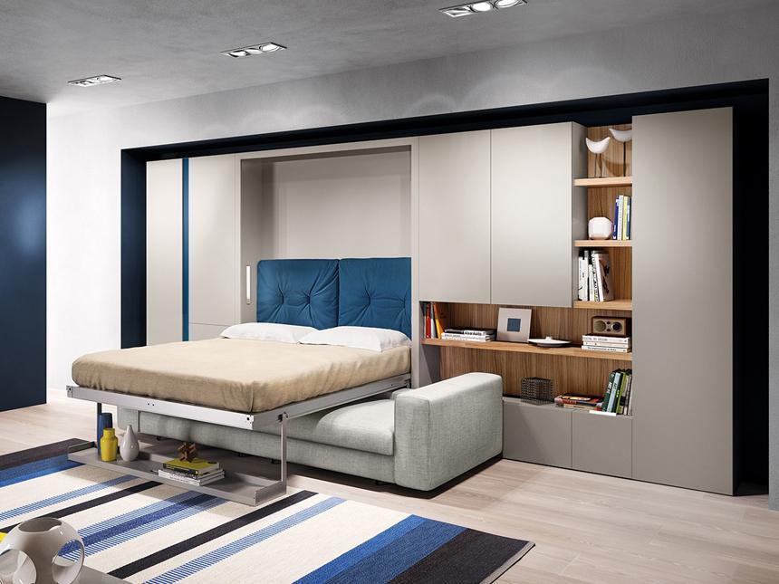 Mẫu giường âm tường tông màu ghi sáng hiện đại. Bên dưới chân giường có không gian để đồ tiện ích. Khi gấp giường lại không gian phòng ngủ bỗng biến thành phòng khách với chiếc ghế sofa êm ái đã bài trí sẵn vô cùng tiện nghi, linh hoạt.