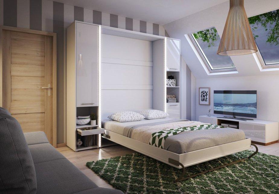 Giường ngủ âm tường linh hoạt trong thiết kế với khả năng gấp gọn theo chiều dọc nhanh chóng, dễ dàng. Giường được tích hợp tủ kệ để đồ kiêm trang trí với các ô tủ hở ấn tượng.