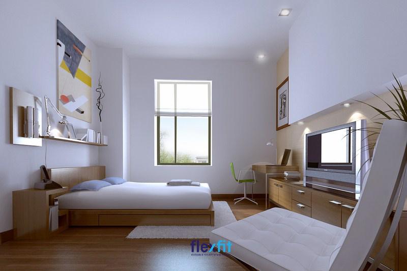 Giường bệt có táp đầu giường thiết kế dạng mở độc đáo. Dưới giường có ngăn lưu trữ đồ gia tăng tiện ích và tiết kiệm được tối đa không gian.