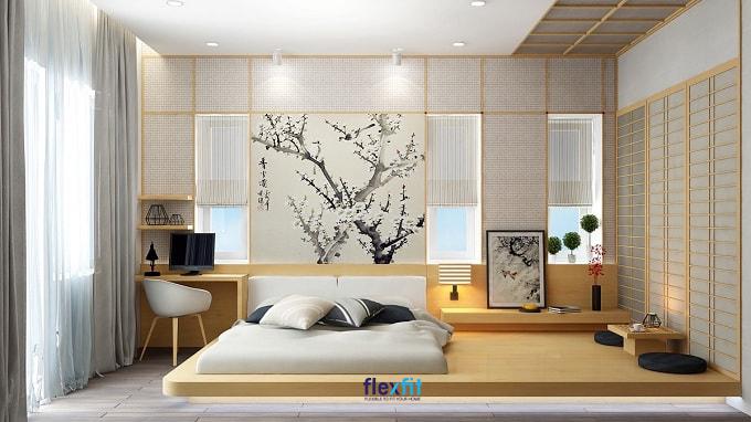 Mẫu giường bệt ấn tượng dành cho những tín đồ yêu thích văn hóa - phong cách Nhật Bản. Hệ nội thất đồng bộ, liền mạch giữa giường ngủ với táp đầu giường, bàn làm việc đúng chuẩn phong cách sống tối giản của người Nhật.