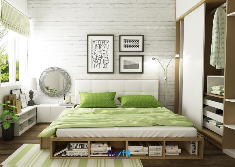Giường bệt tích hợp ngăn để đồ thông minh, tiện lợi. Bạn có thể tận dụng để đặt những cuốn sách mình hay đọc, vừa gọn gàng, vừa tiện dụng.