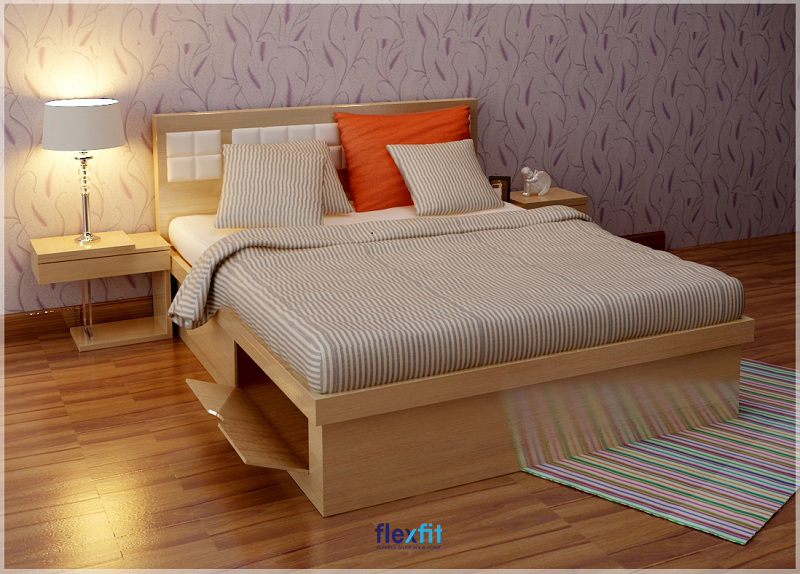 Mẫu giường bệt đế rỗng có thể để đồ đạc, vật dụng thiết kế mới mẻ với cánh mở kiểu chữ V.