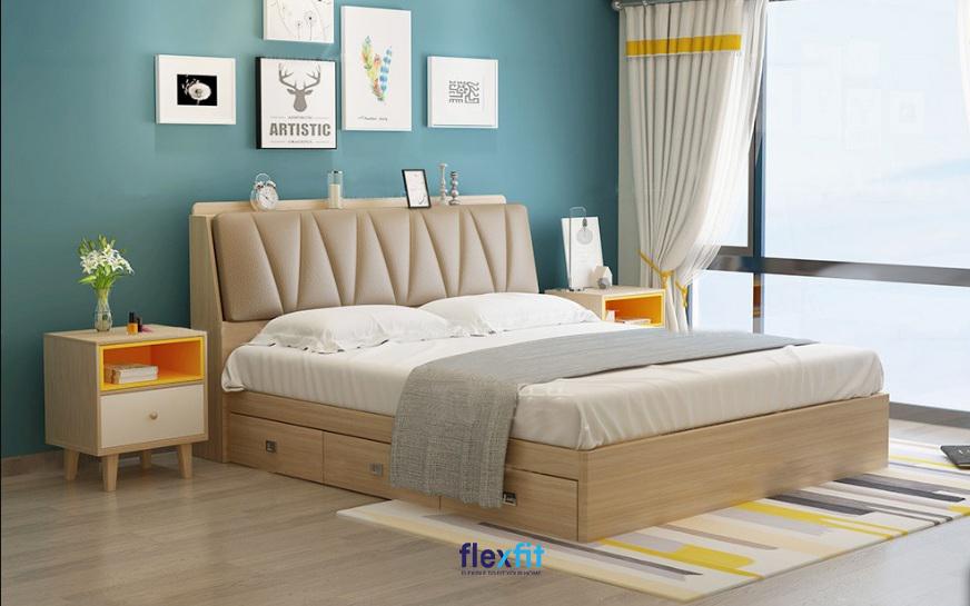 Mẫu giường gỗ công nghiệp có ngăn kéo với những đường vân gỗ sáng màu