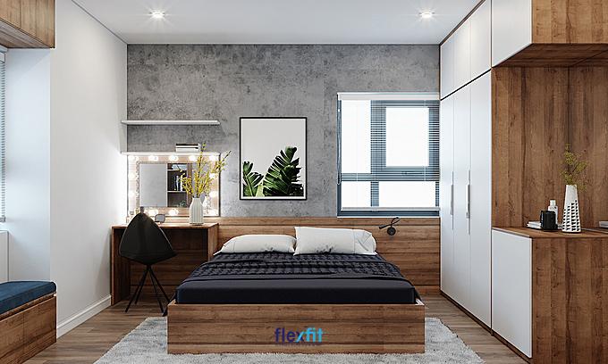 Mẫu giường nâu vân gỗ phối ga giường đen - gối trắng tạo nên sự pha trộn màu sắc hài hòa, cho không gian ấm cúng, hiện đại.
