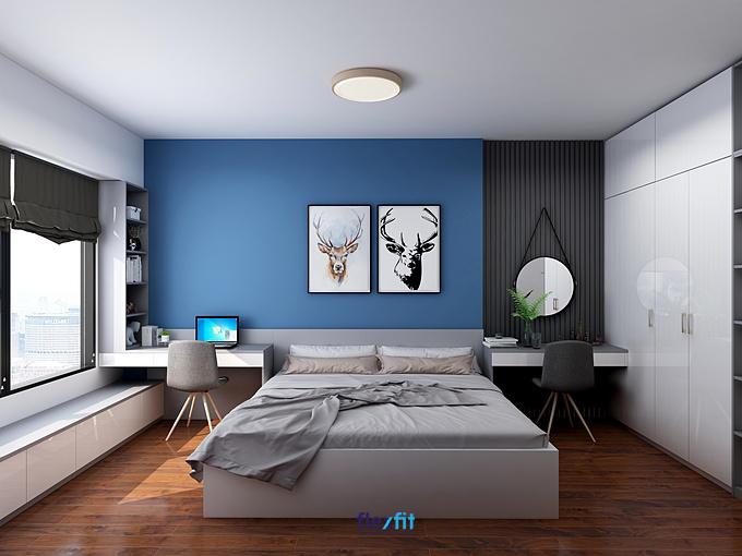 Phòng ngủ trở nên ấn tượng và thu hút hơn khi trang trí hai bức tranh trên đầy giường hình đầu hươu nghệ thuật