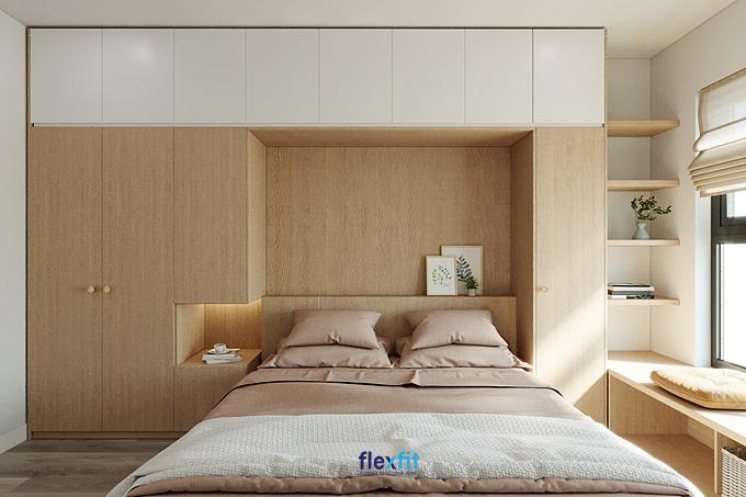 Mẫu giường ngủ liền tủ gam màu trắng - vân gỗ sáng ấn tượng tạo thành hệ giường - tủ liền mạch, giúp tiết kiệm diện tích phòng tối đa.