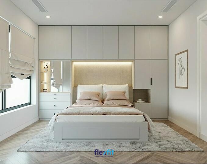 Mẫu giường đôi liền tủ, bàn trang điểm hiện đại, mang lại sự tiện nghi cho không gian phòng ngủ tối đa.