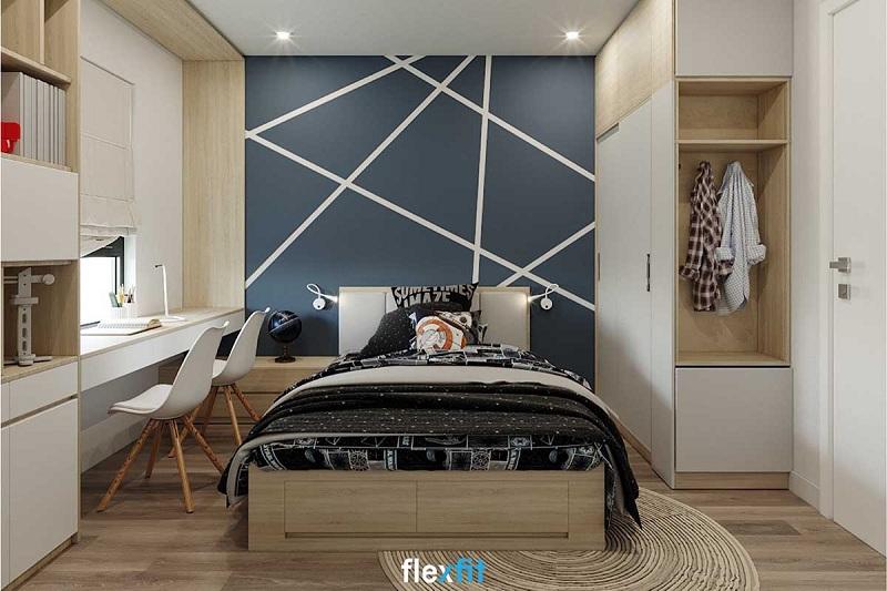 Thoạt nhìn có thể bạn nghĩ đây chỉ là một mẫu giường ngủ bệt bình thường. Nhưng nếu để ý kỹ hơn, bạn sẽ thấy chân giường được tích hợp ngăn kéo âm giúp bạn có thêm không gian lưu trữ đồ rất tiện lợi.