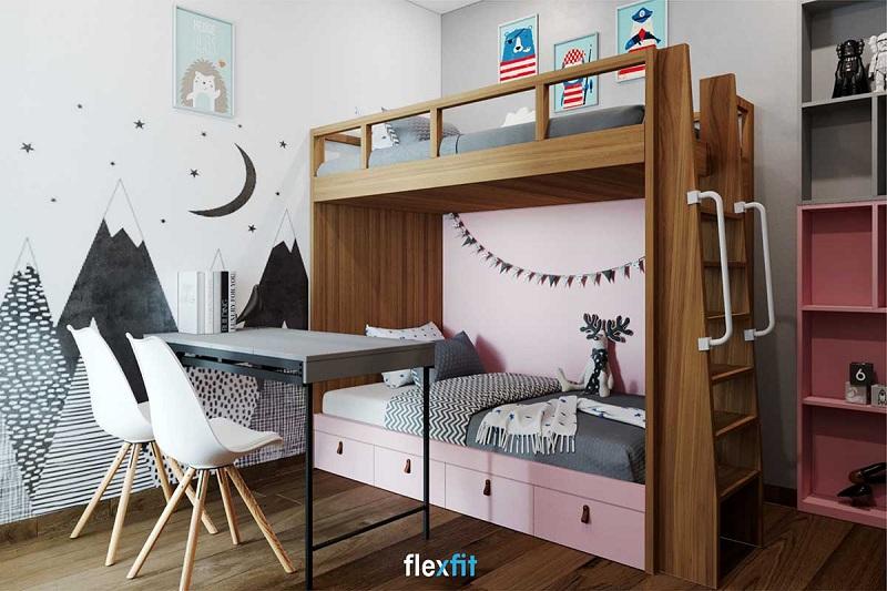 Mẫu giường đơn thiết kế tầng thích hợp cho hai bé sử dụng. Gam màu hồng pastel dịu dàng nữ tính sẽ khiến các bé gái vô cùng thích thú. Ngoài ra, giường còn có các ngăn tủ đựng đồ tiện lợi, giúp phòng bé gọn gàng, ngăn nắp.