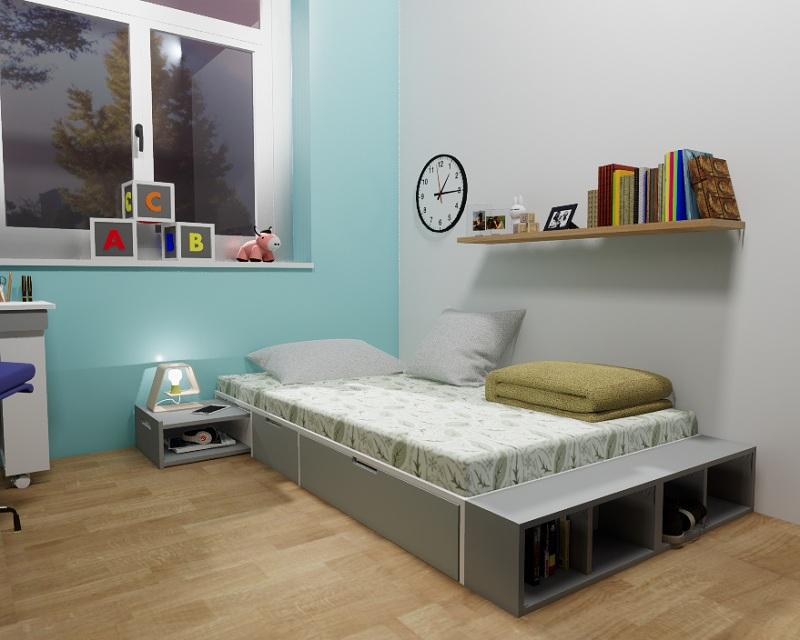 Căn phòng ngủ diện tích hạn chế của bé chẳng cần bài trí nhiều tủ đựng mà vẫn đảm bảo công năng lưu trữ với mẫu giường đơn này. Giường có thiết kế rỗng bên trong tạo thành các ngăn tủ để đồ vừa có ngăn tủ vừa để hở thuận tiện cho quá trình sử dụng.