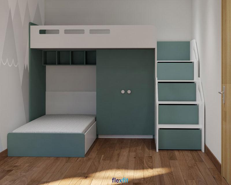 Mẫu giường tầng tích hợp tủ tiện ích hòa trộn gam màu xanh pastel và trắng tạo sự thân thiện, nhẹ nhàng cho không gian phòng ngủ.