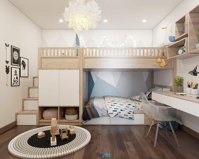 Đây là mẫu giường tầng liền tủ lý tưởng mà bé nào cũng thích. Gam màu trắng cùng nâu vân gỗ sáng của bộ nội thất giúp không gian trở nên ấn tượng, tươi sáng hơn.