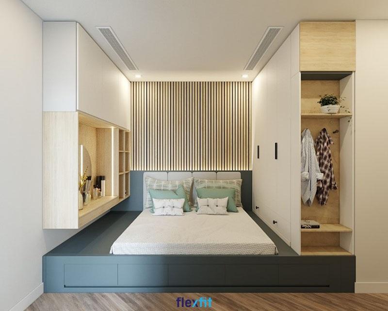 Mẫu giường liền tủ xanh Navy phối gam màu trắng mang đến không gian mới mẻ cho phòng ngủ.