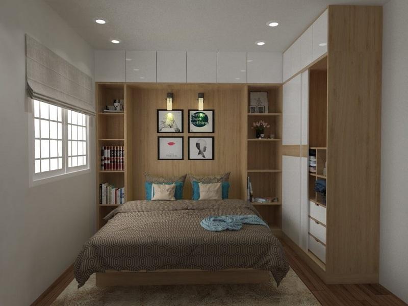 Mẫu giường liền tủ quần áo cánh trượt cùng kệ trang trí và các ô tủ đựng đồ với thiết kế kịch trần tạo nên không gian phòng ngủ tiện ích, tối ưu diện tích.